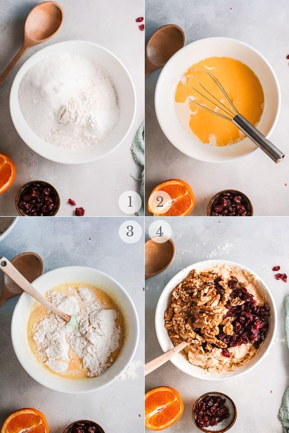 cranberry orange bread recipe steps 1-4