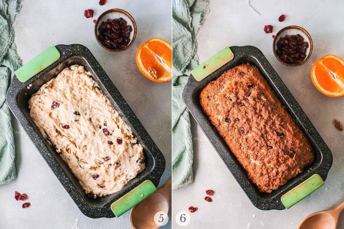 cranberry orange bread recipe steps 5-6