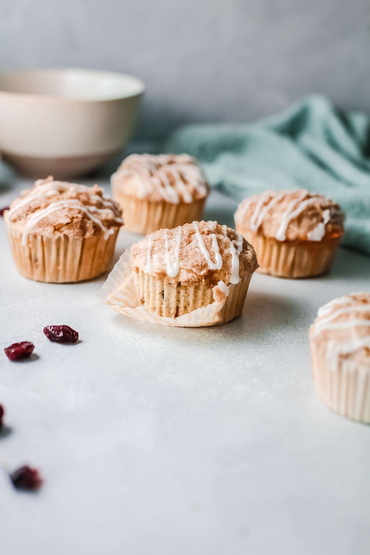 cranberry orange muffins liner removed