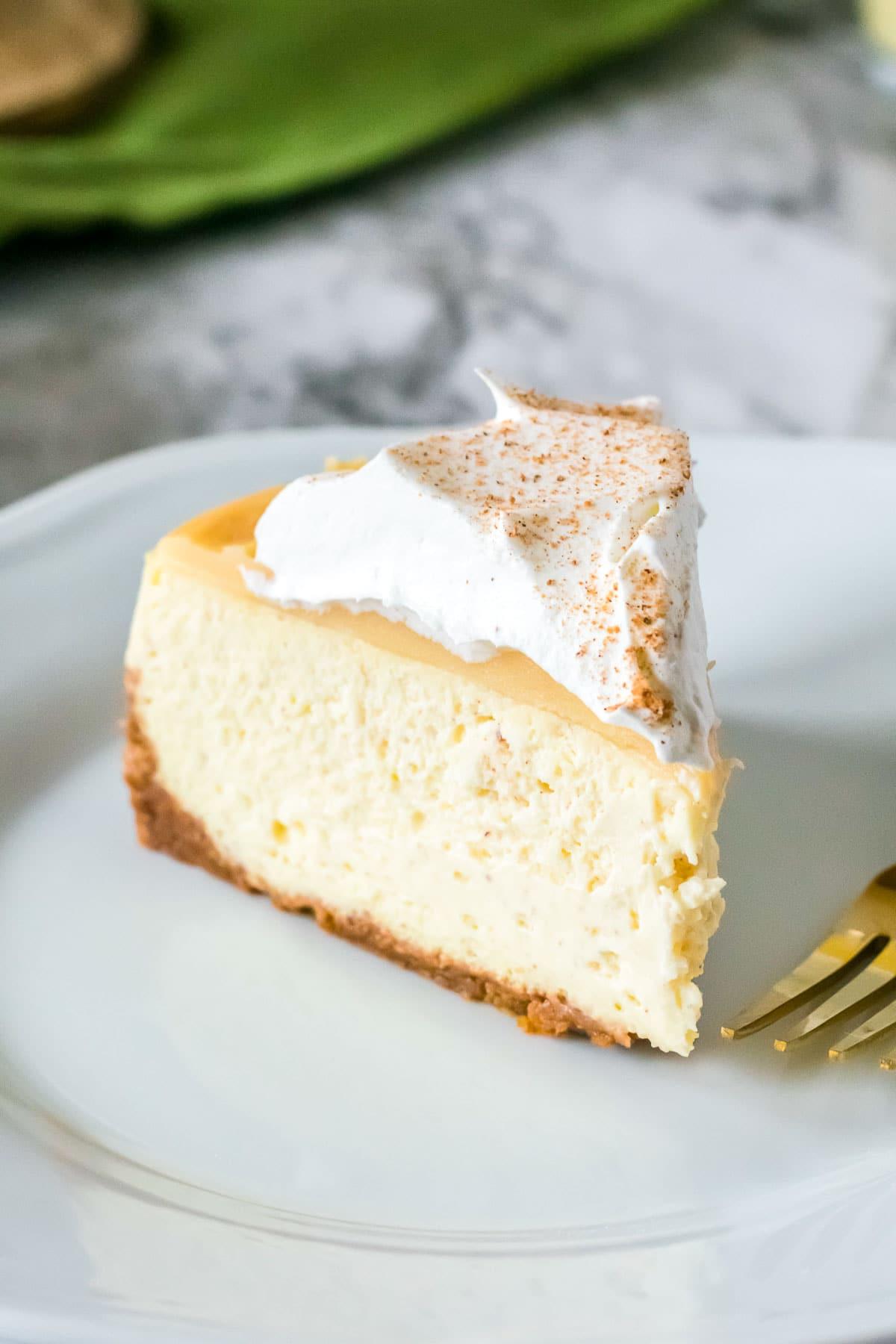 eggnog cheesecake slice