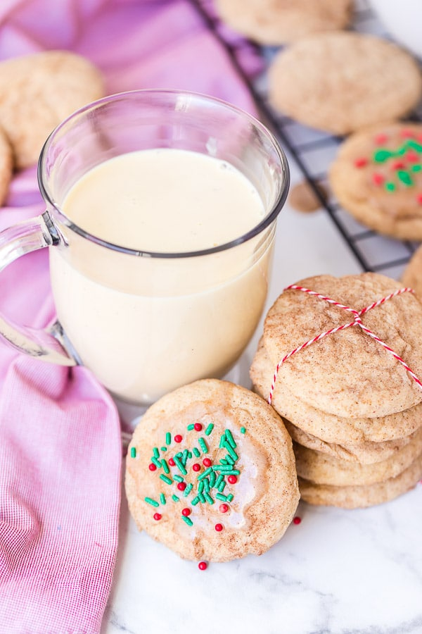 eggnog snickerdoodle cookies with eggnog