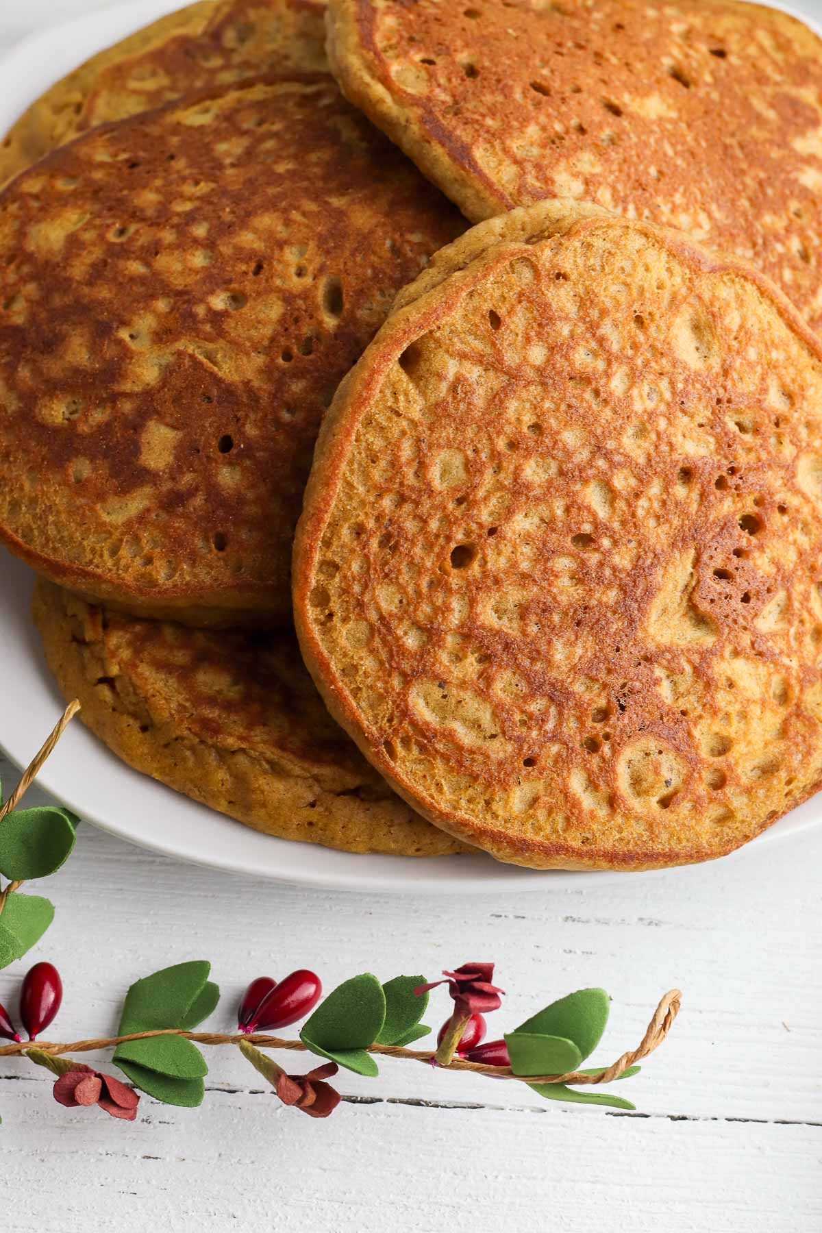 gingerbread pancakes close up