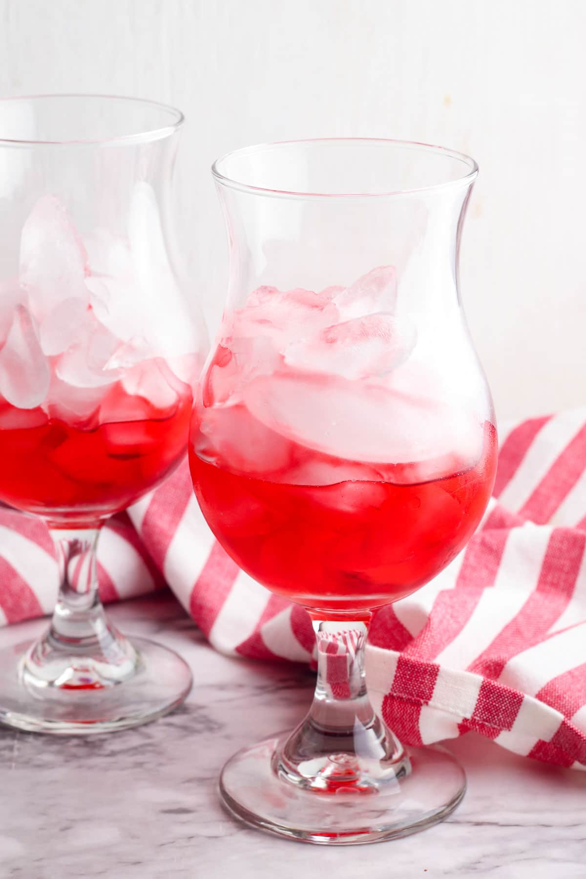 grenadine in a glass with ice