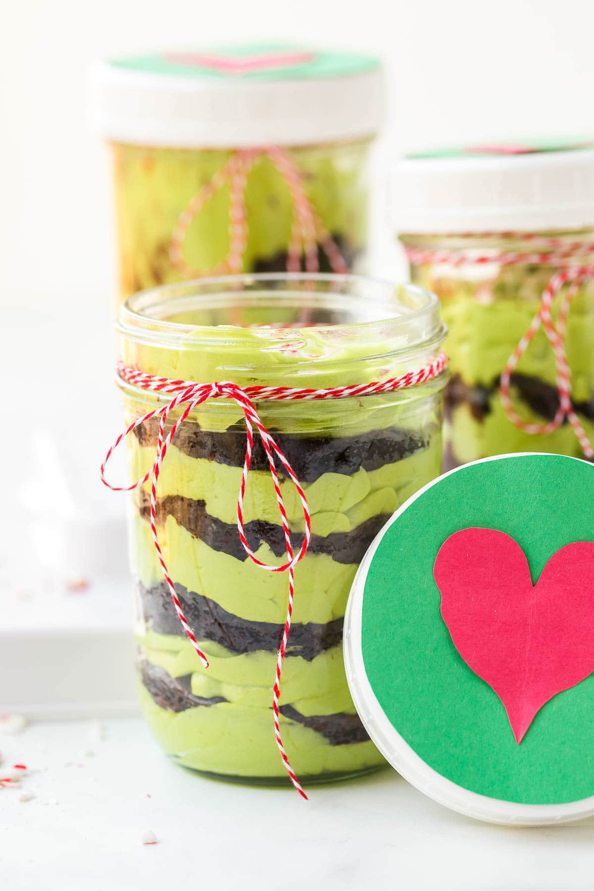 grinch cake in jar