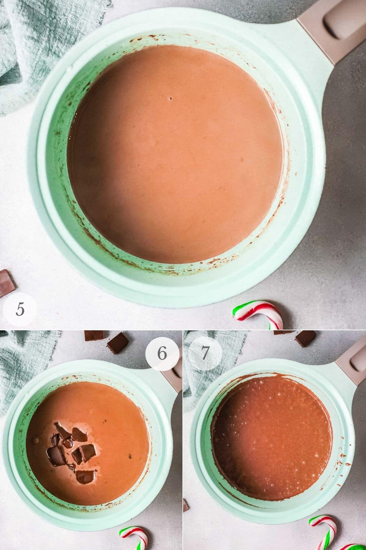 peppermint hot chocolate recipe steps 5-7