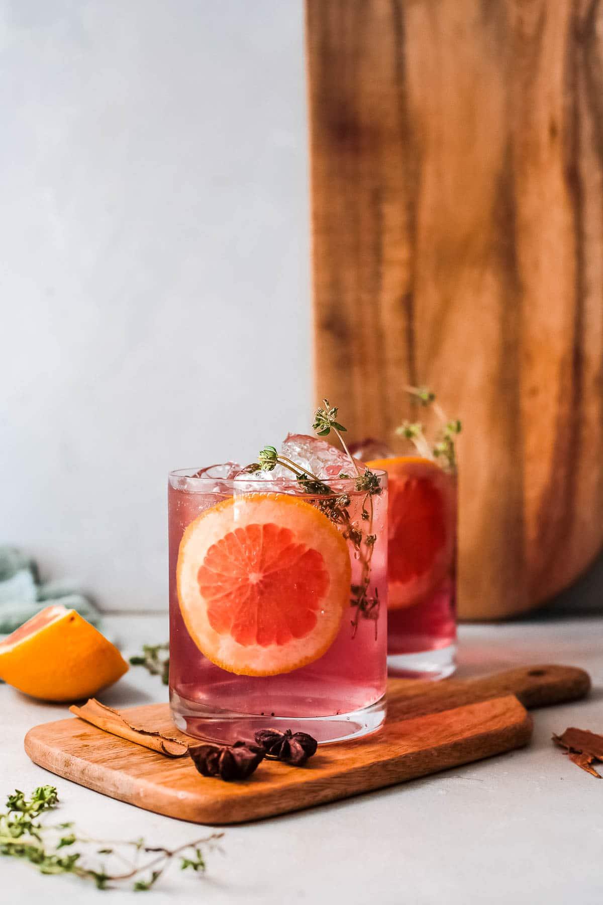 poinsettia drink with orange slice