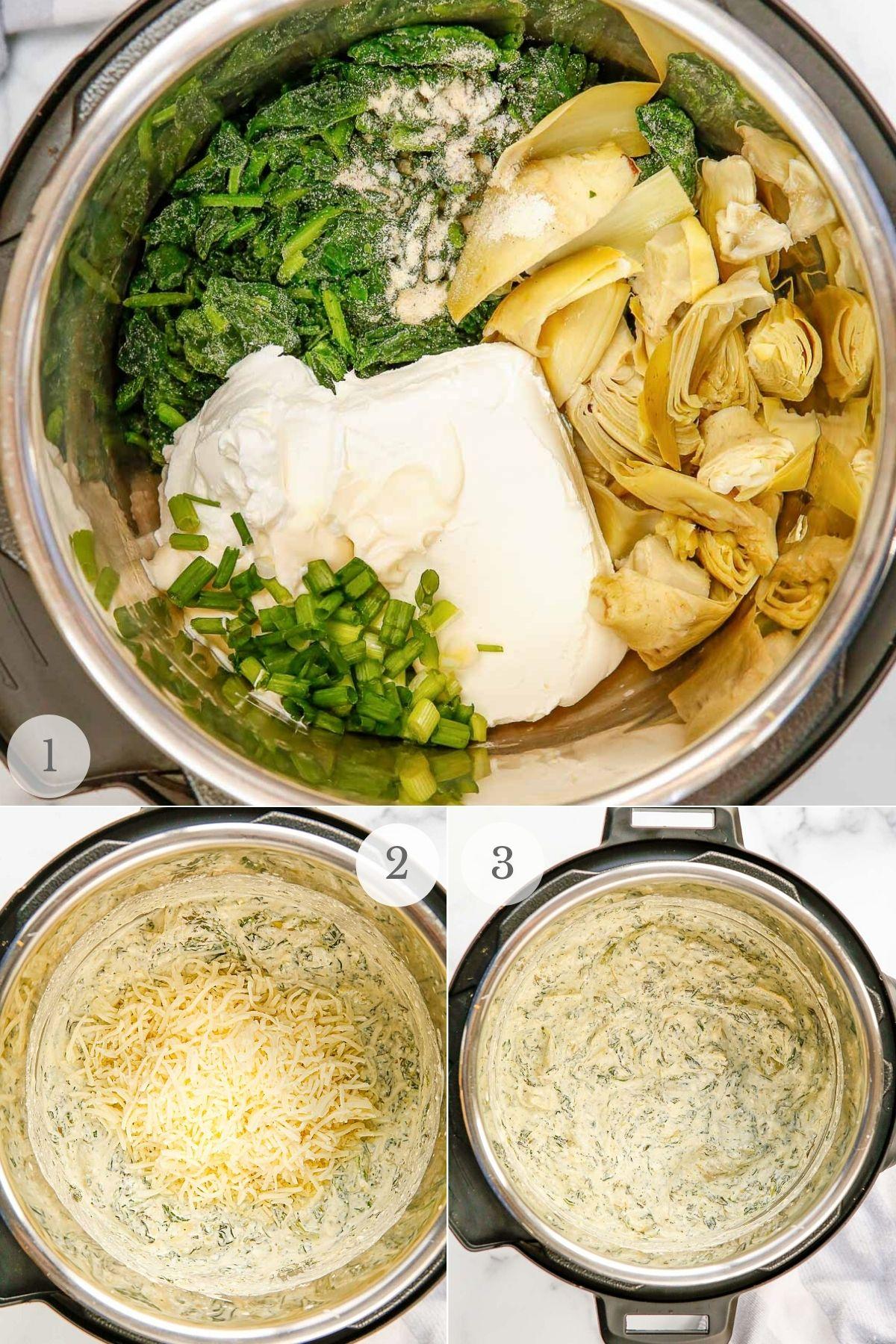 spinach artichoke dip recipe steps collage