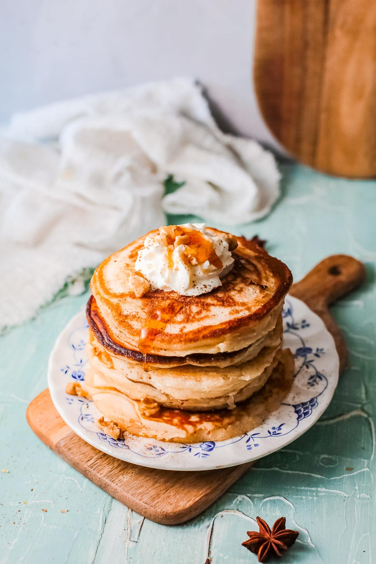 stack of eggnog pancakes from above