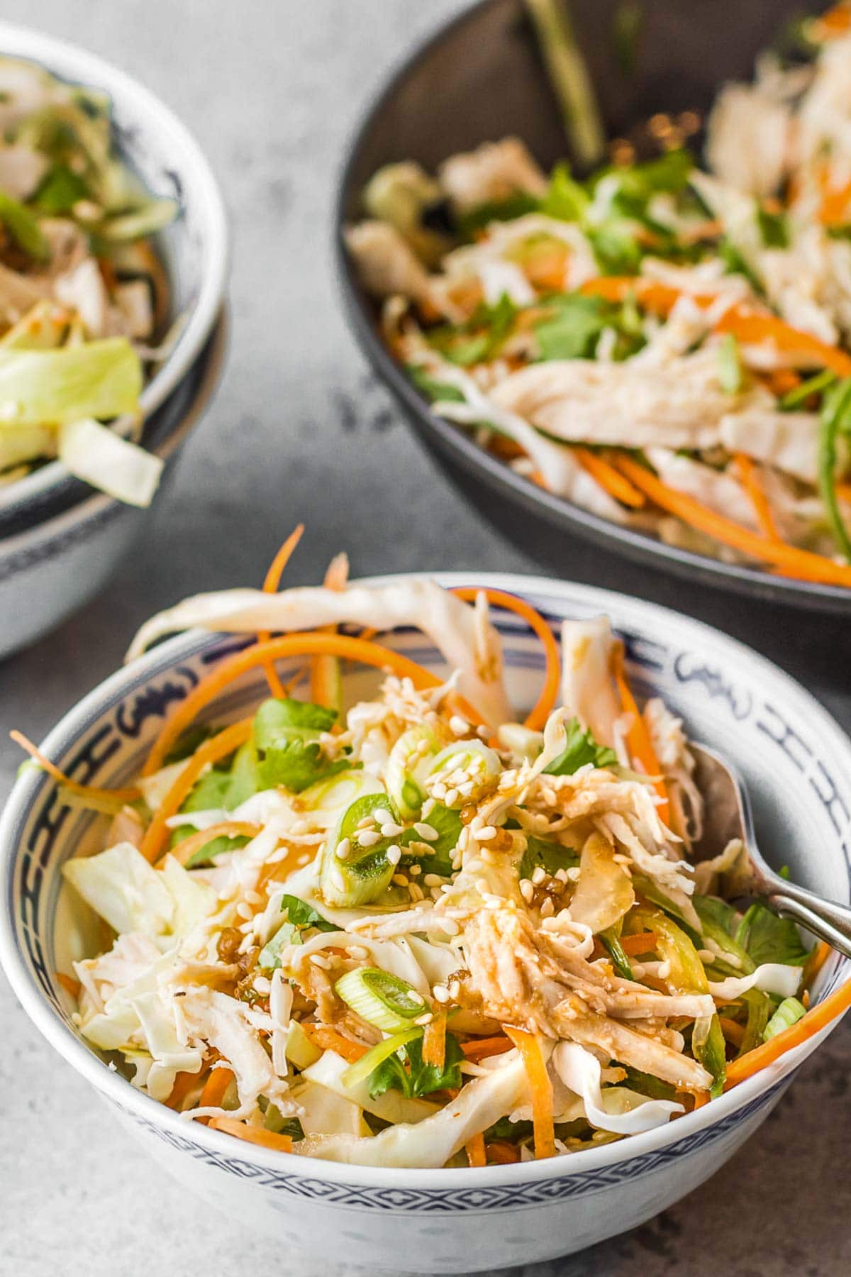 Asian salad in a bowl close up