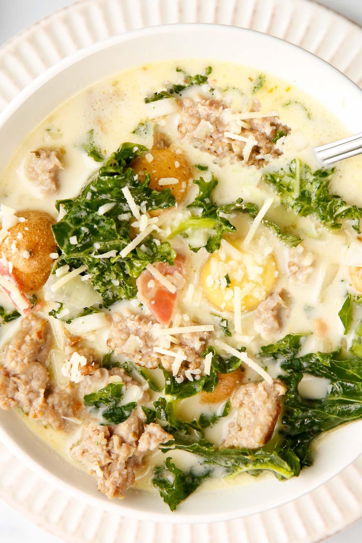 Zuppa Toscana soup close up