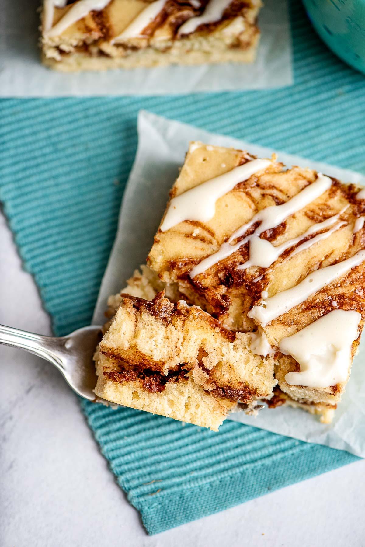 cinnamon roll cake bite on fork