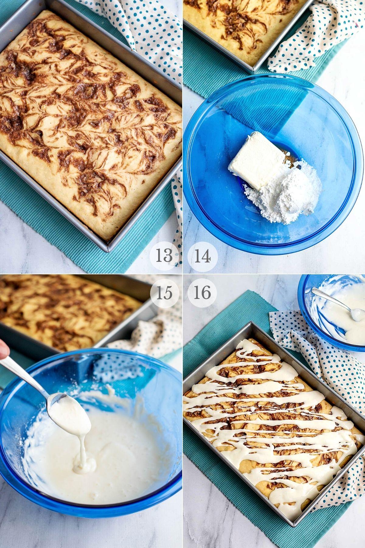 cinnamon roll cake recipe steps 13-16