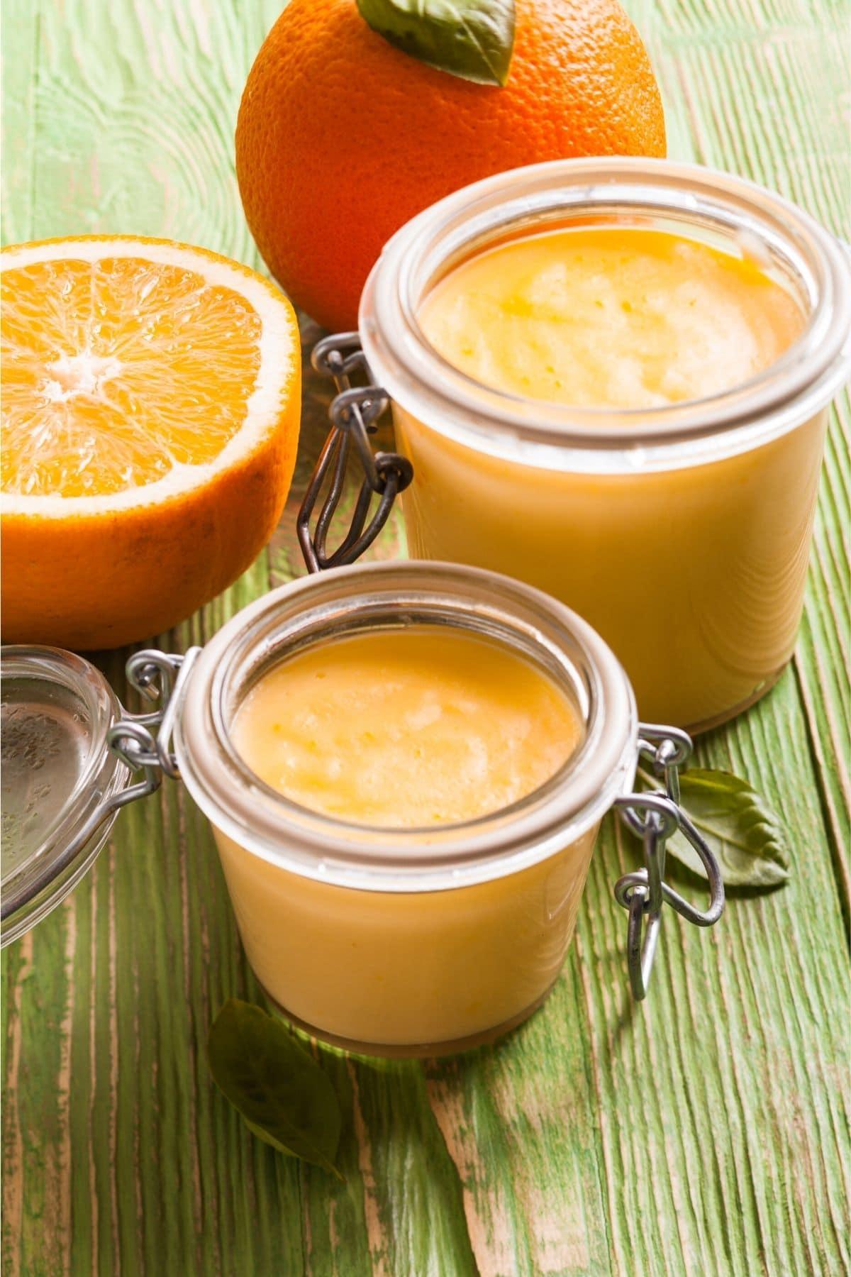 homemade orange curd in jars