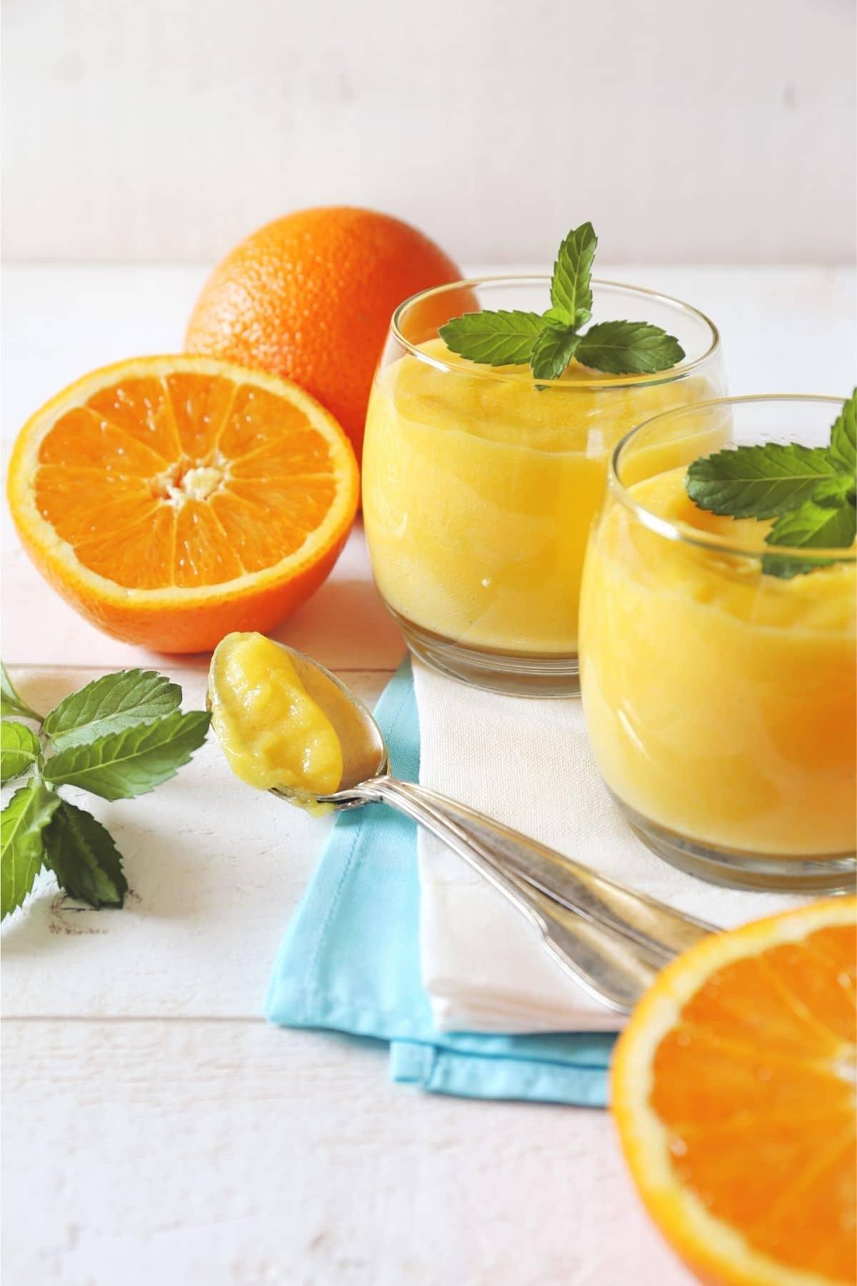 orange curd on spoons