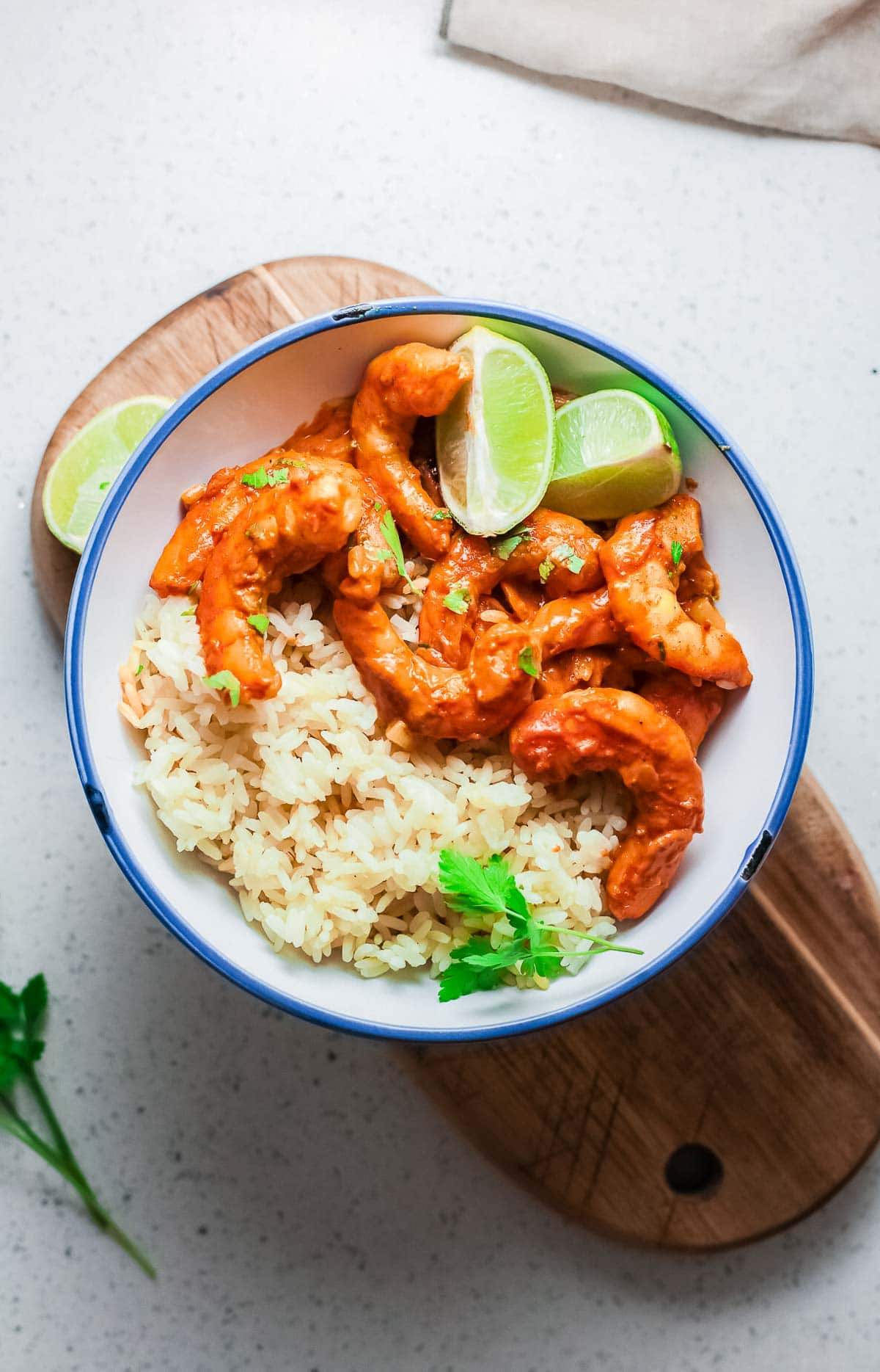 shrimp curry with rice in bowl