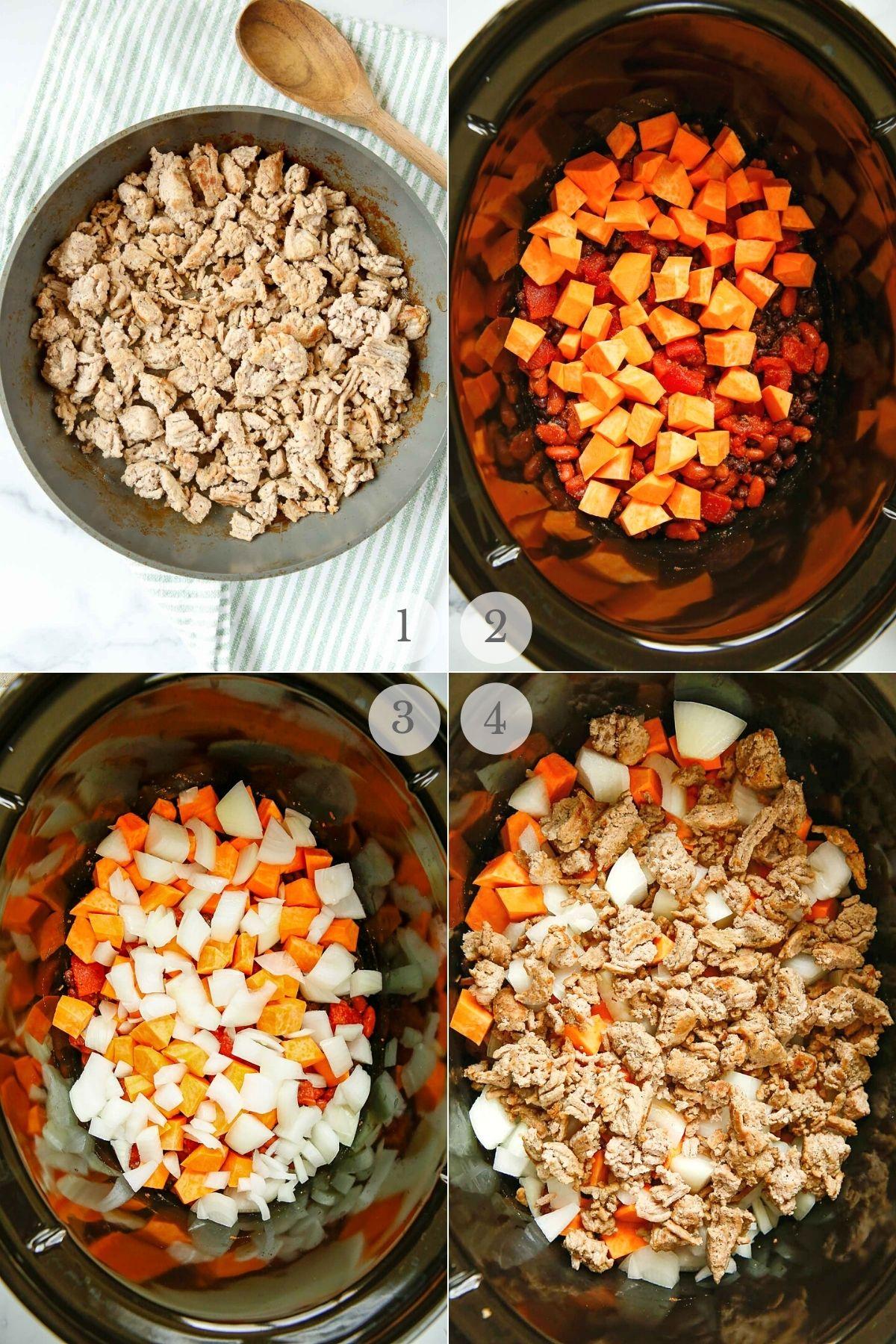 slow cooker turkey chili recipe steps 1-4