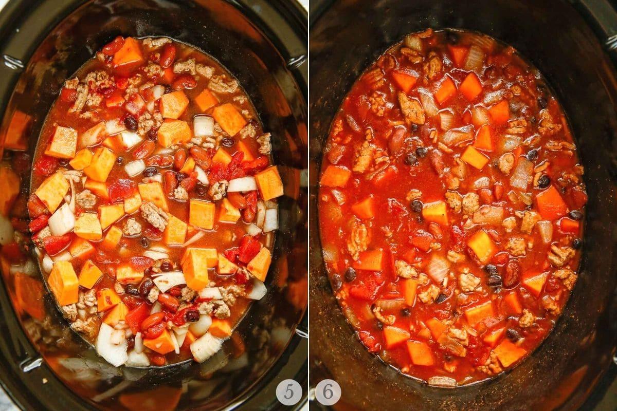 slow cooker turkey chili recipe steps 5-6