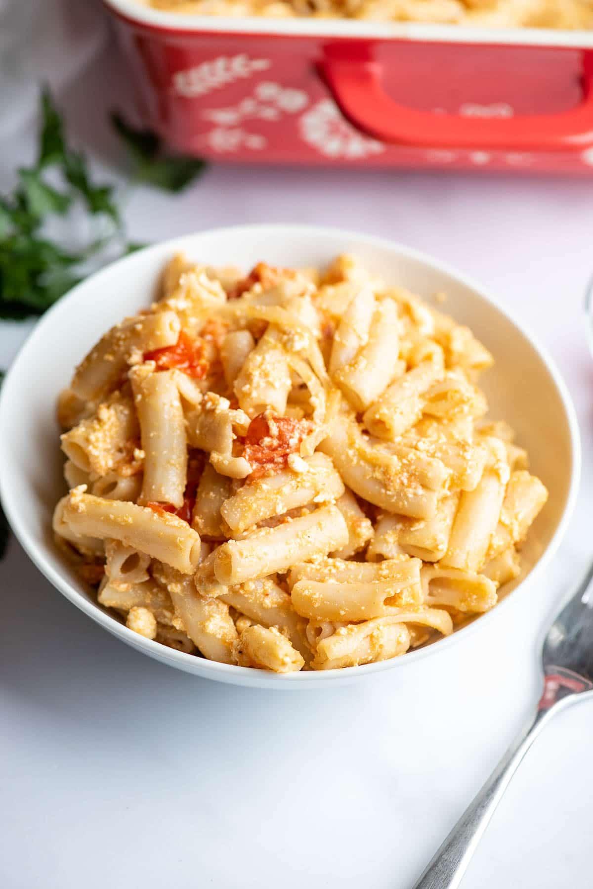 baked feta pasta close up