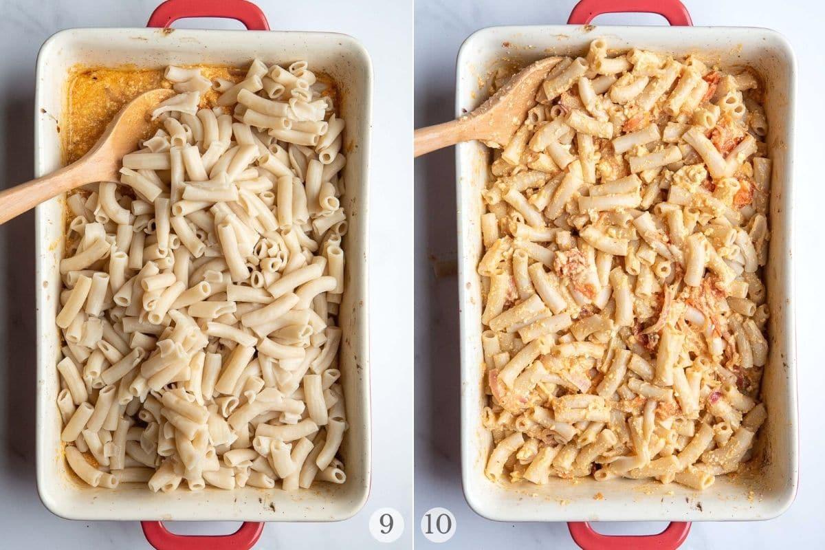 baked feta pasta recipe steps 9-10