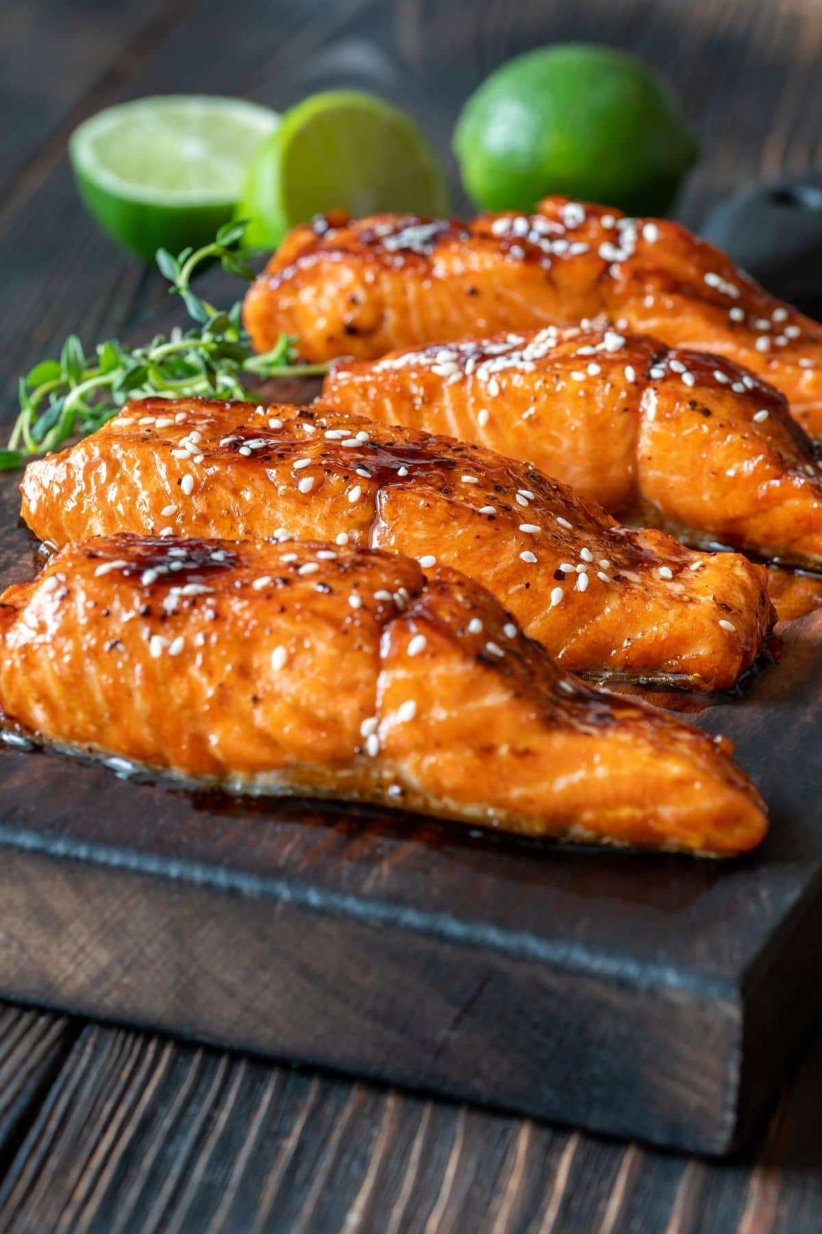 cooked glazed teriyaki salmon