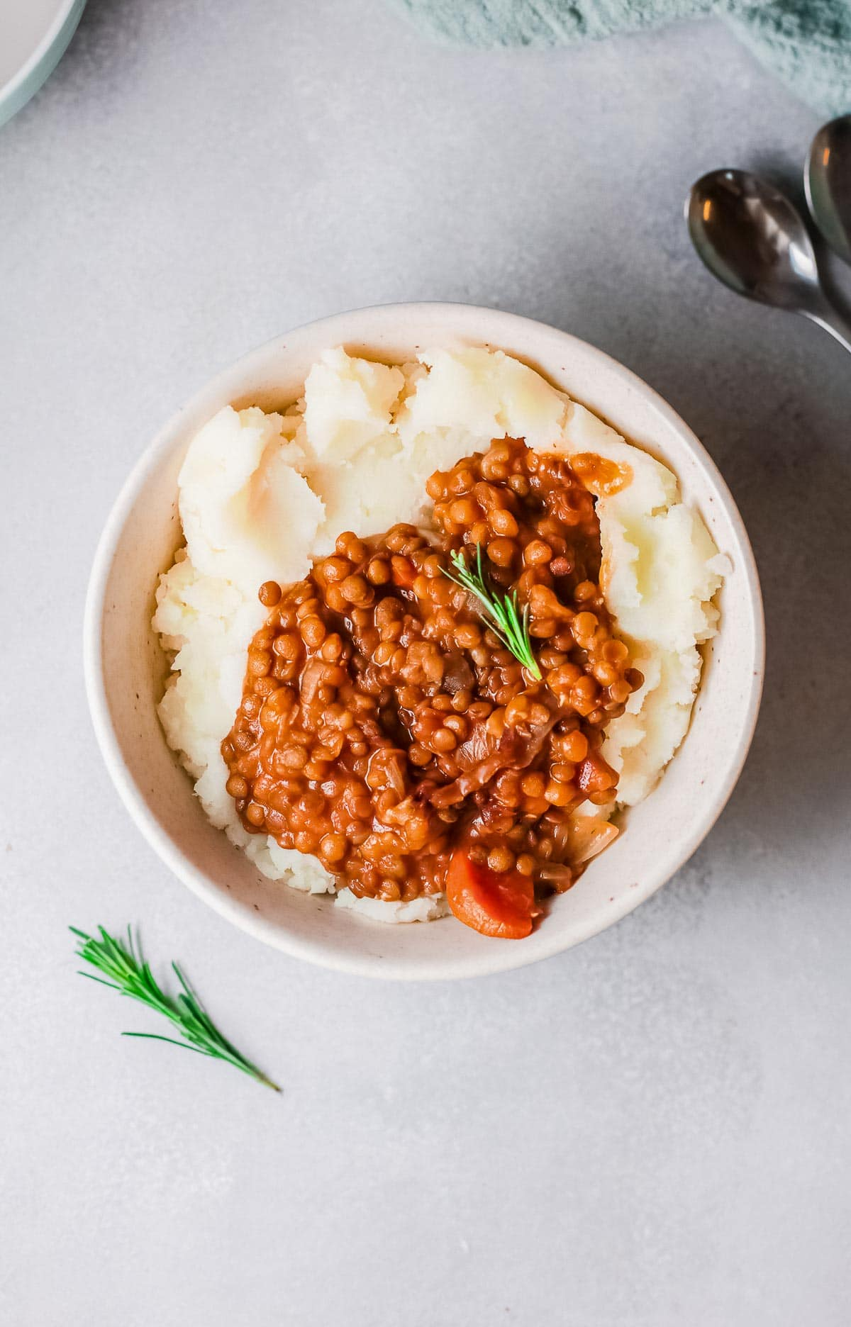 instant pot lentils with mashed potatoes