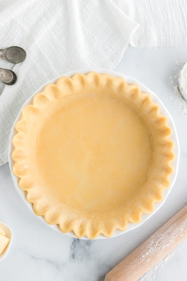 prepared all butter pie crust overhead with flour