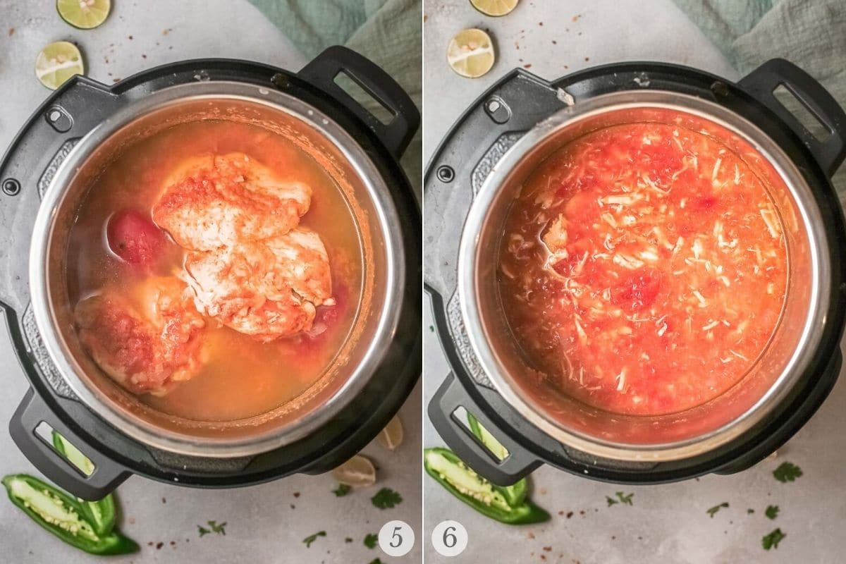 spicy instant pot chicken soup recipe steps 5-6