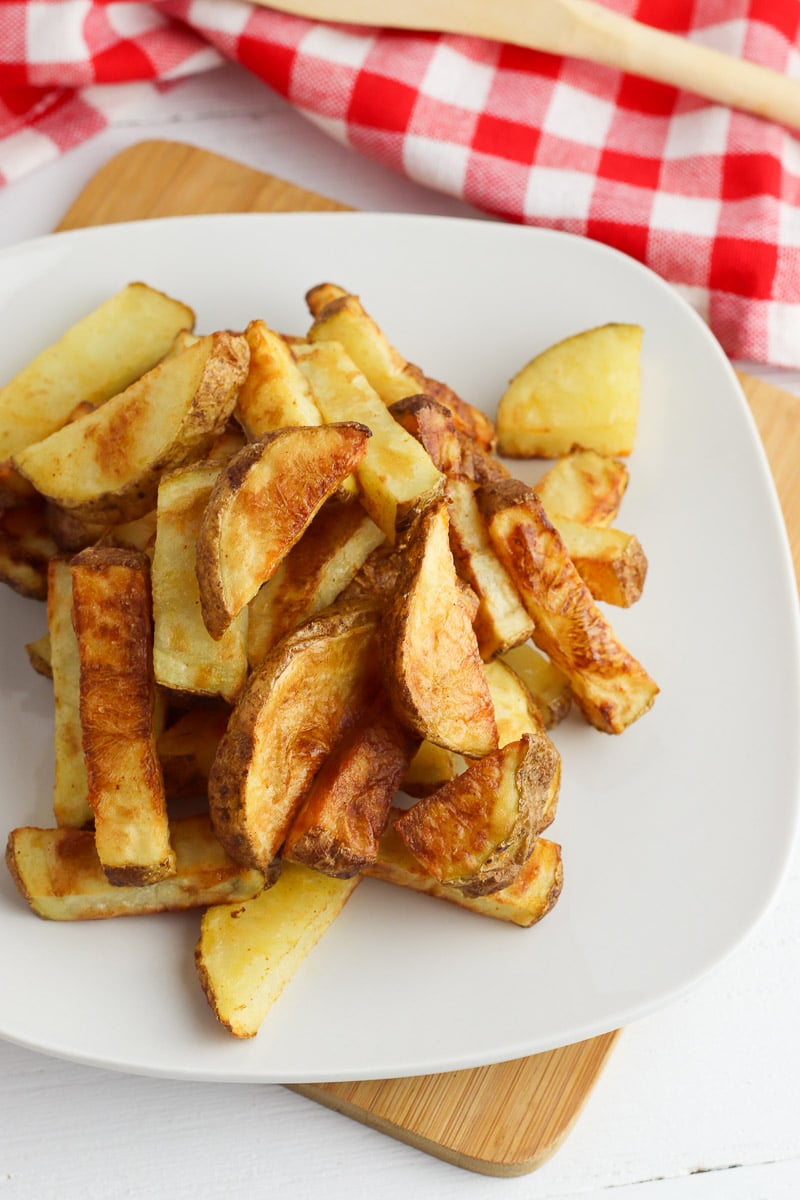 air fryer potato wedges on plate from above