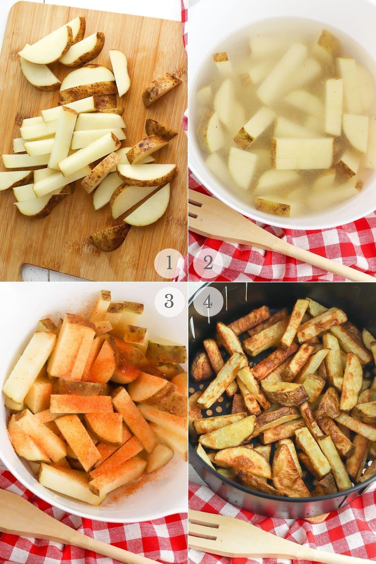 air fryer potato wedges recipe steps 1-4