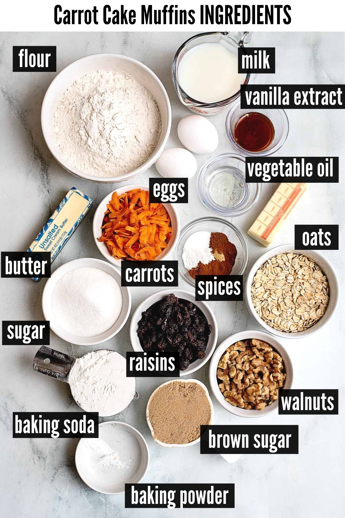 carrot cake muffins ingredients