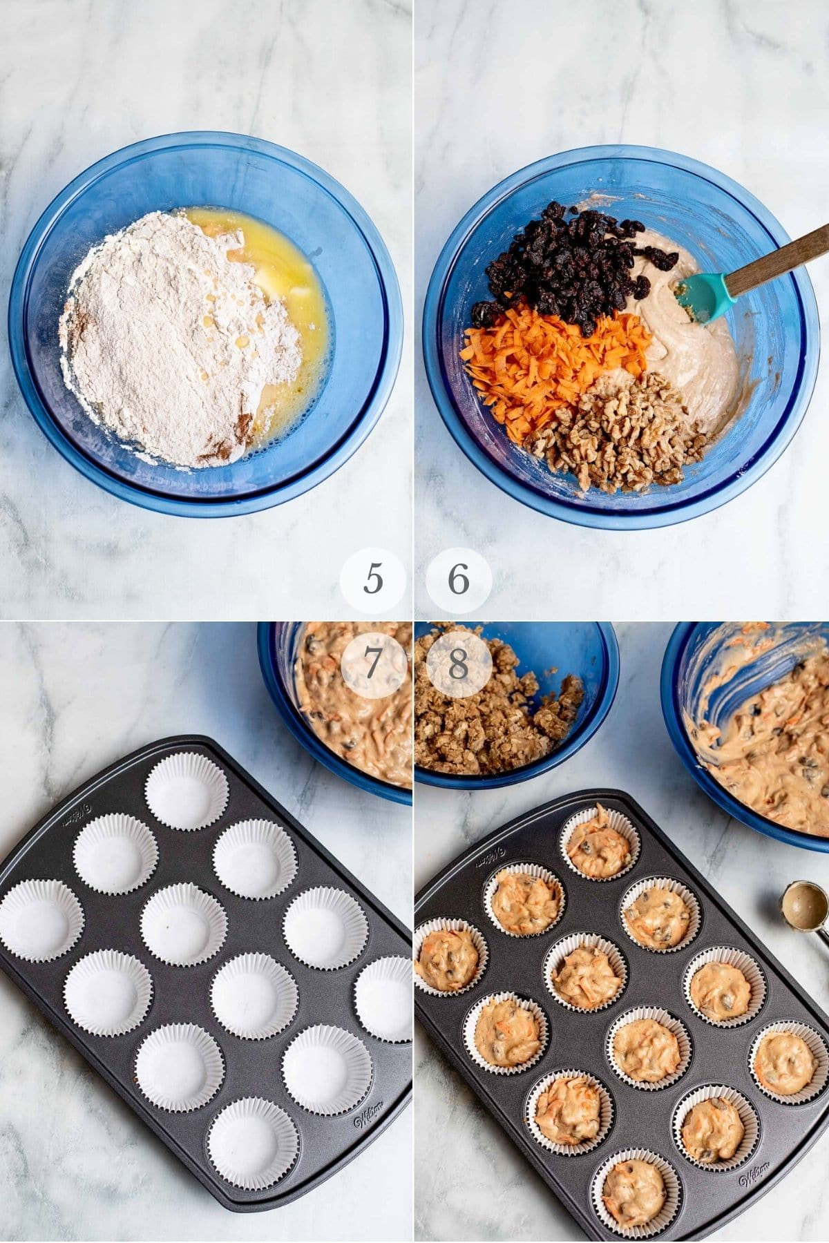 carrot cake muffins recipe steps 5-8
