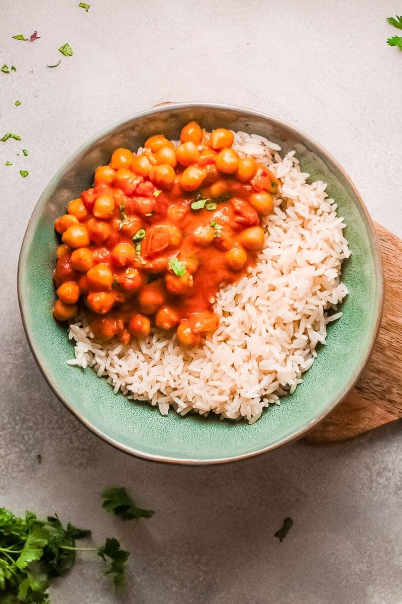 chana masala in bowl overhead