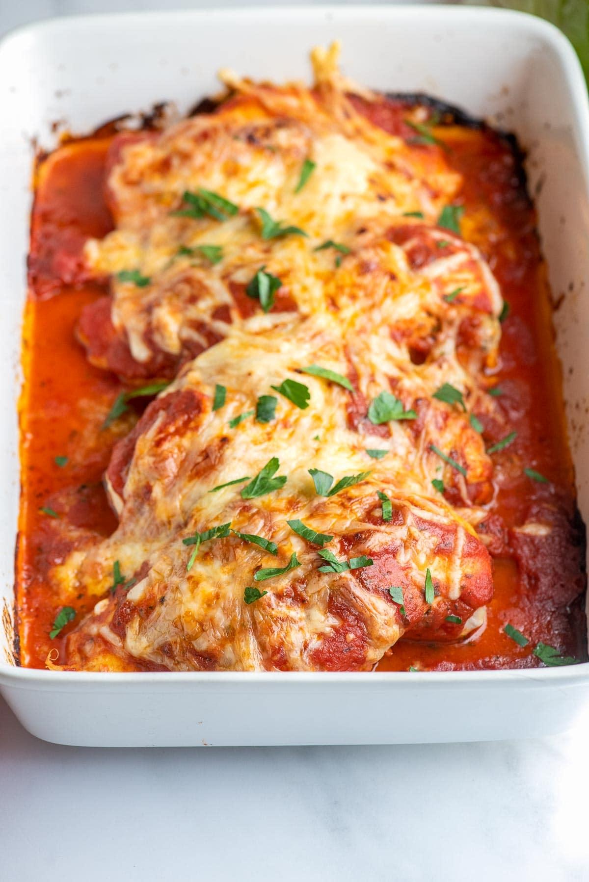 mozzarella chicken in pan