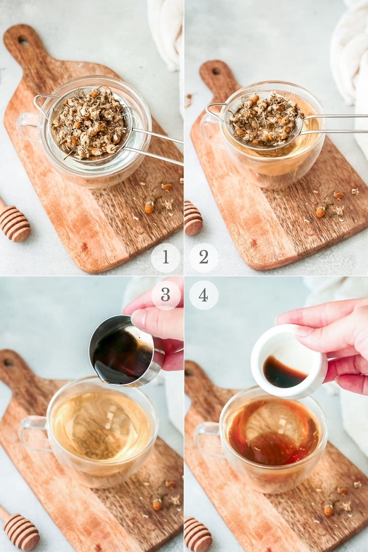 tea latte recipe steps 1-4