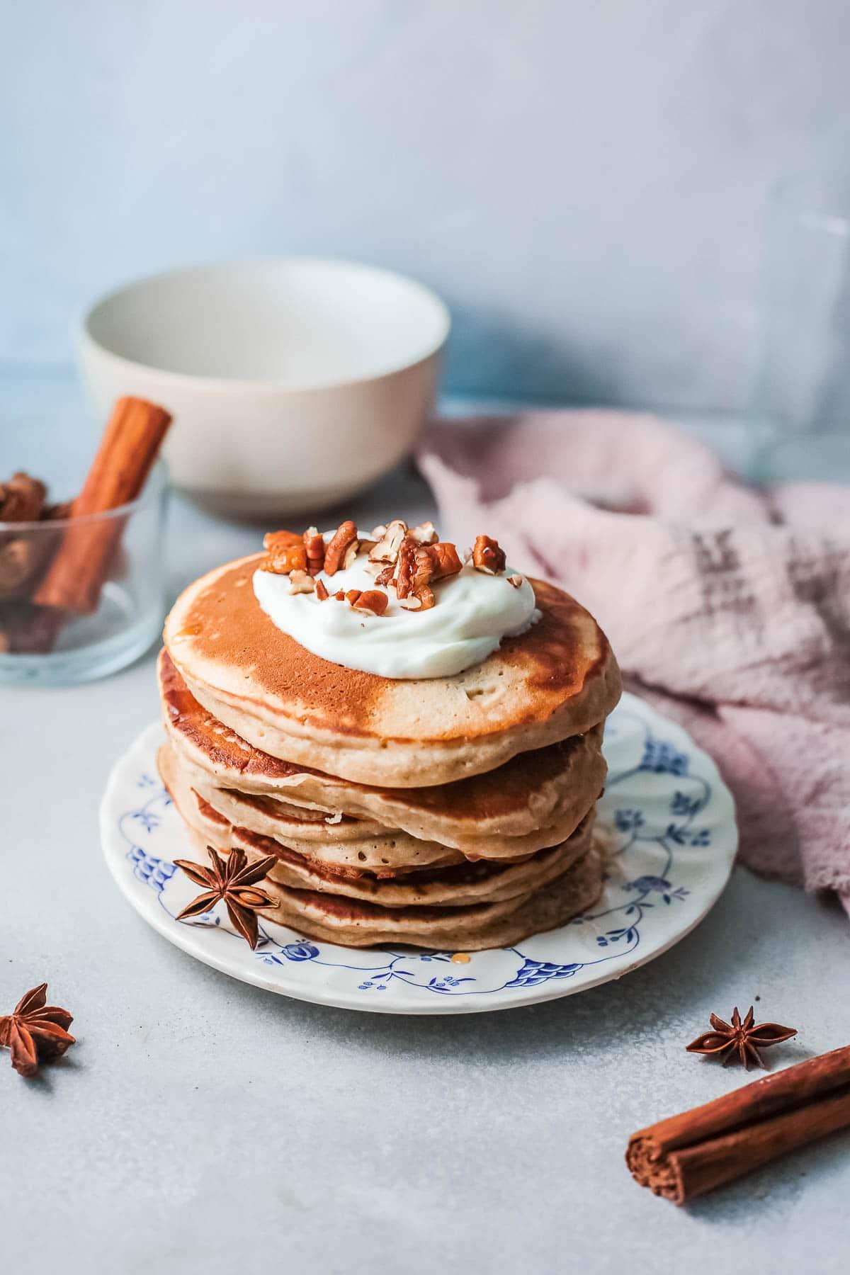 cinnamon pancakes stack
