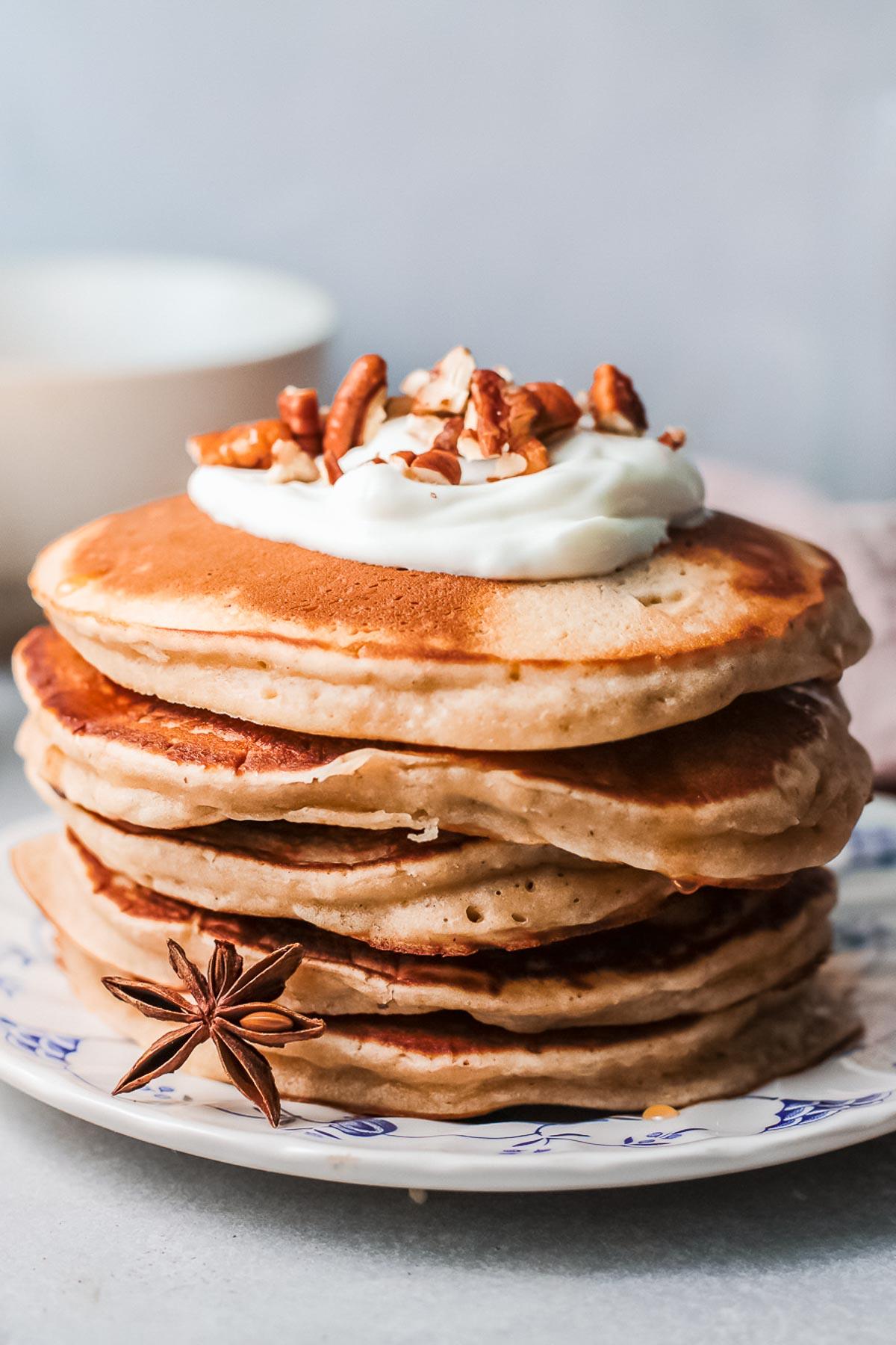 cinnamon pancakes stack close up