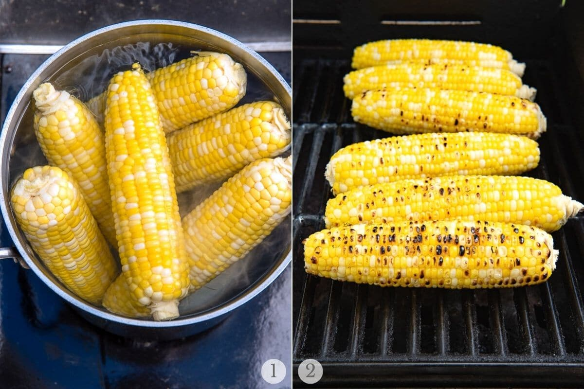 grilling corn collage