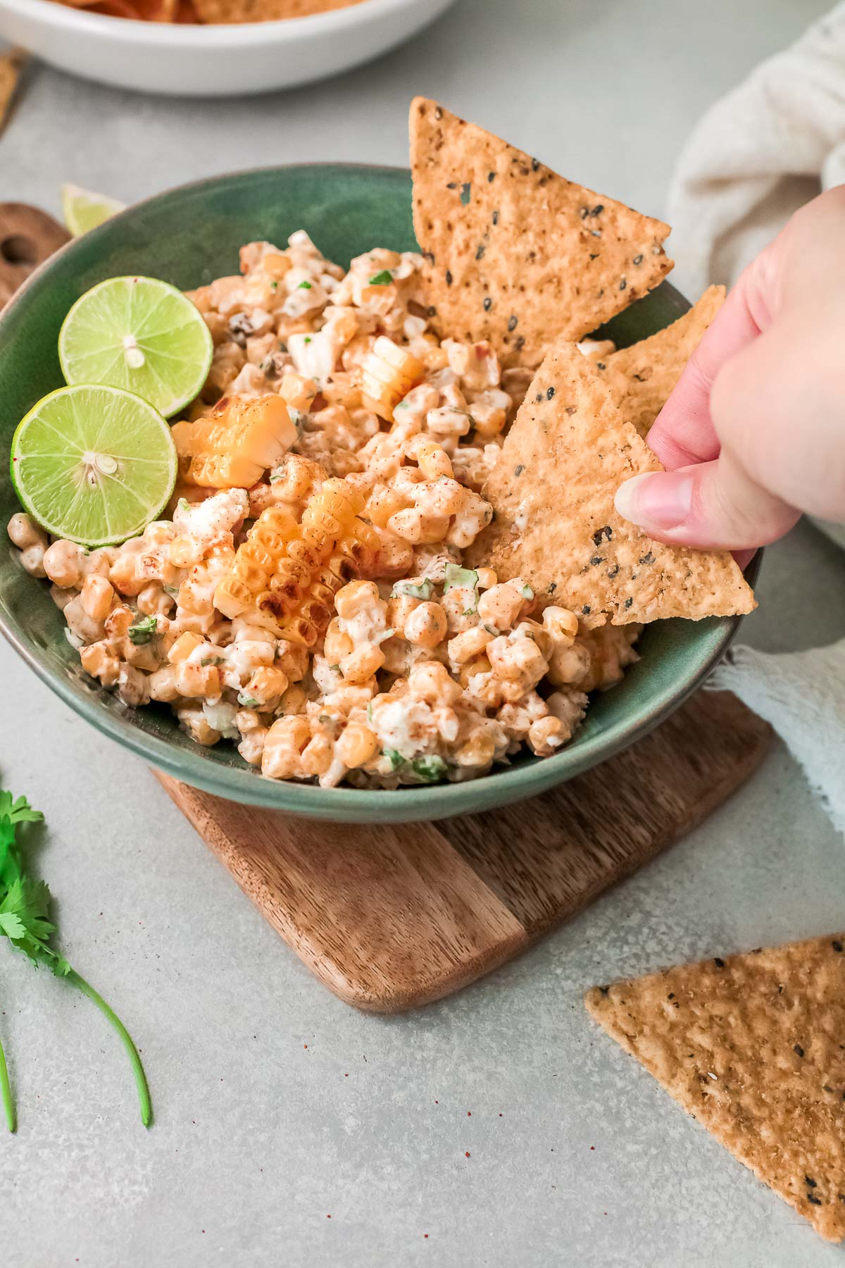 mexican corn dip dipping chips
