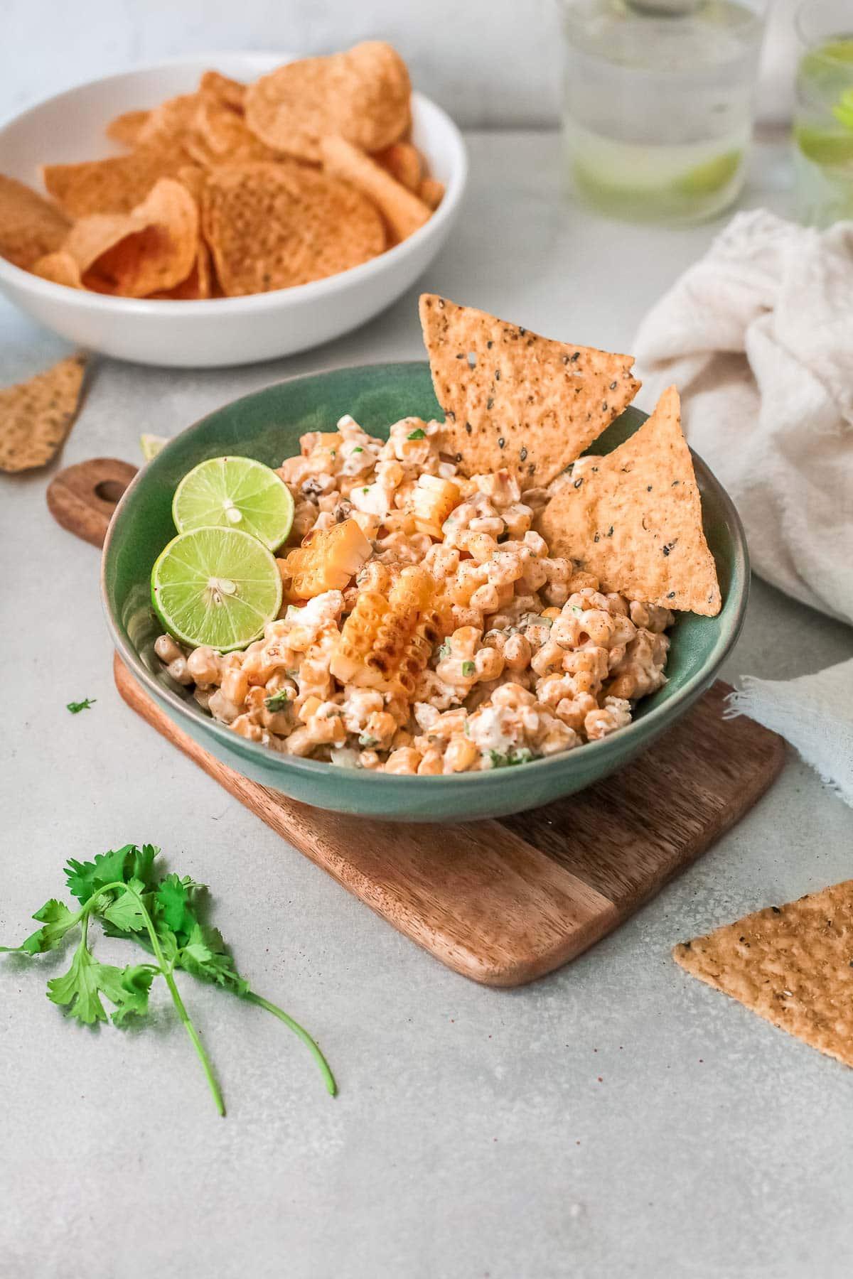 mexican corn dip in a bowl
