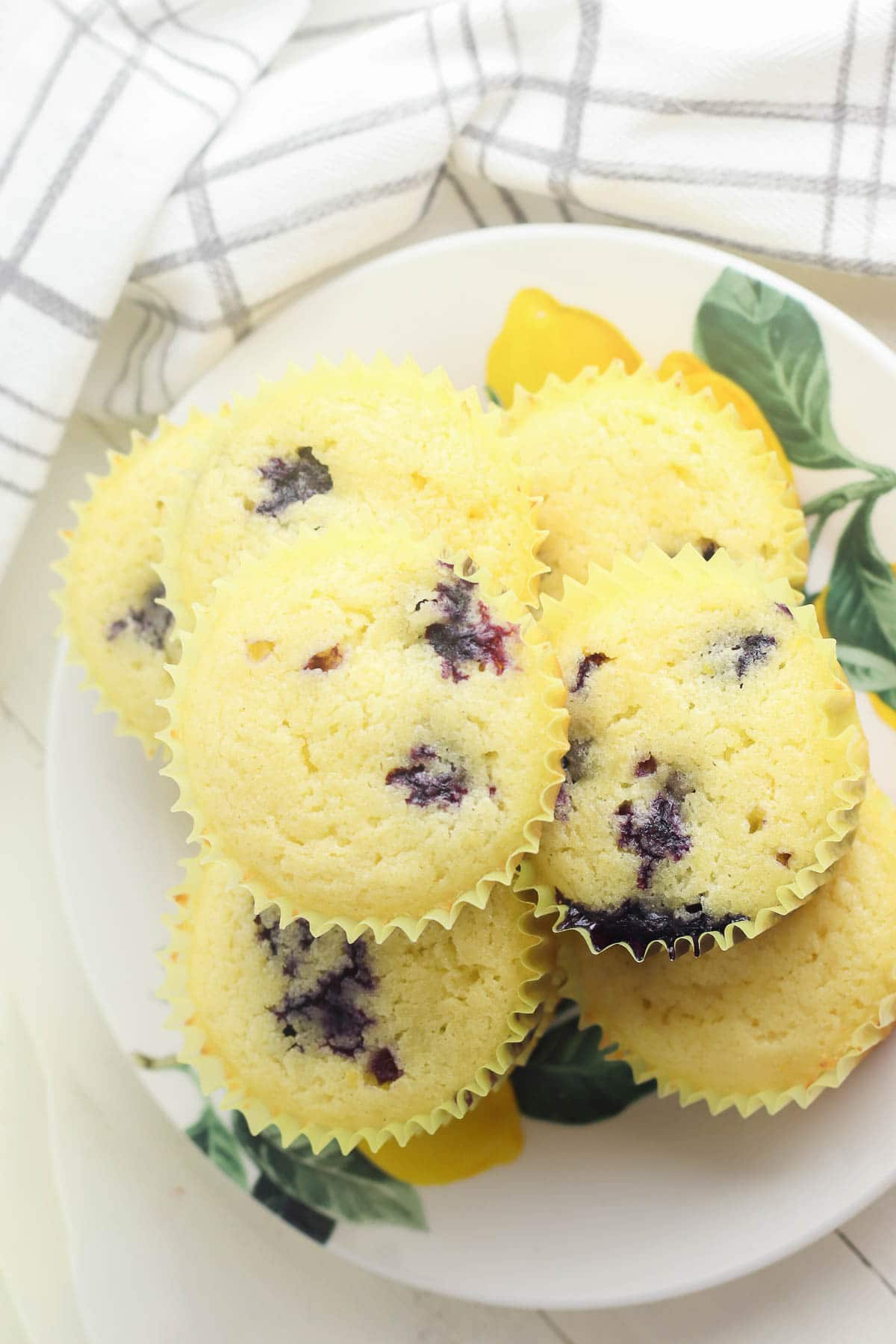 lemon blueberry muffins on plate from above