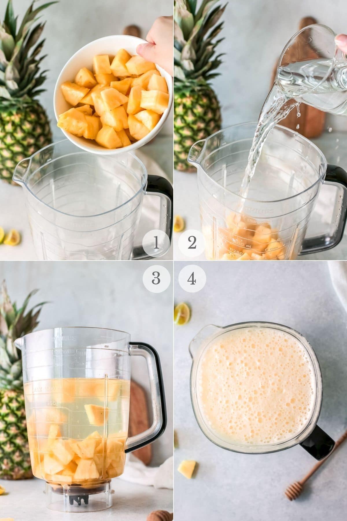 pineapple water recipe steps 1-4