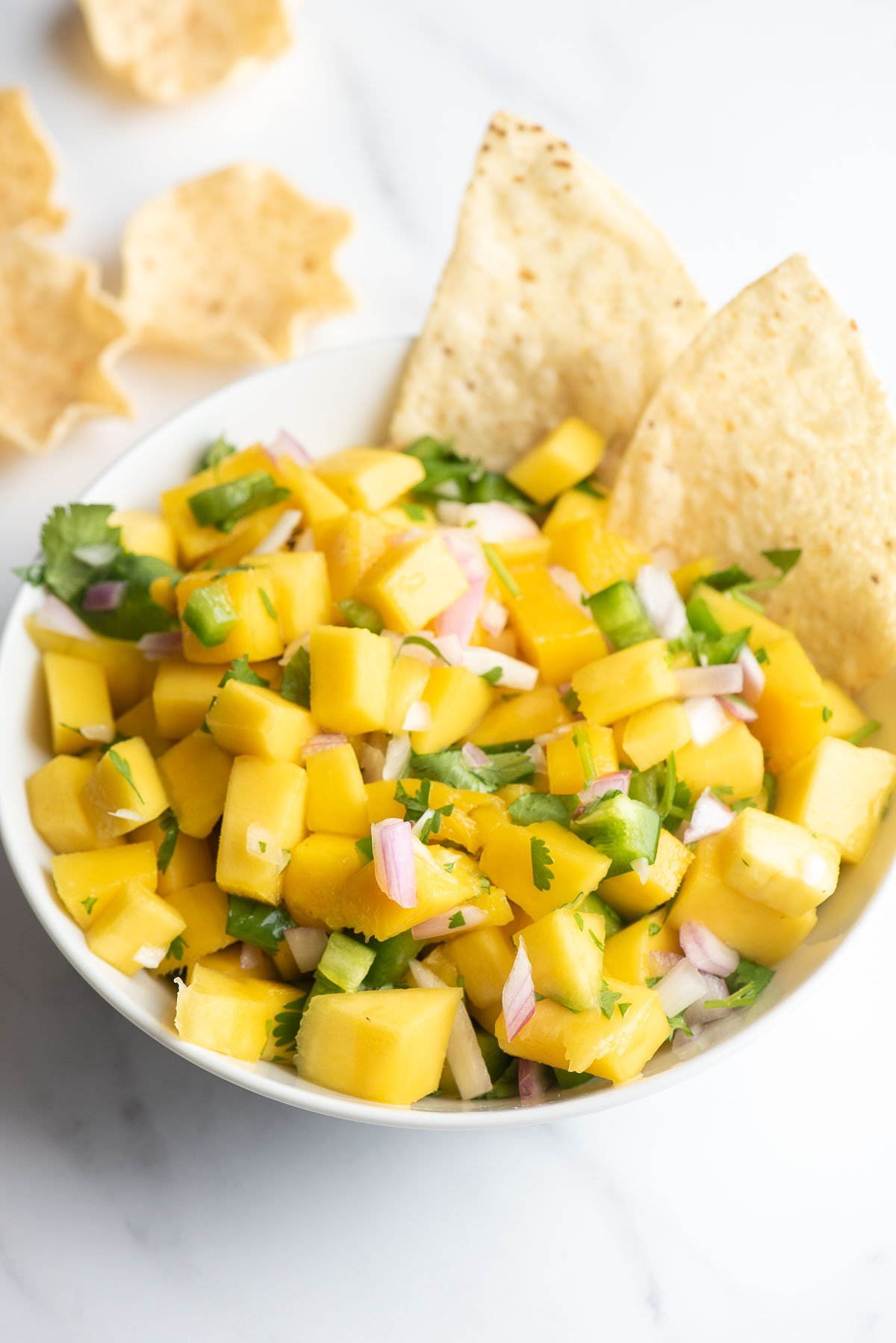mango salsa in a bowl with chips close up