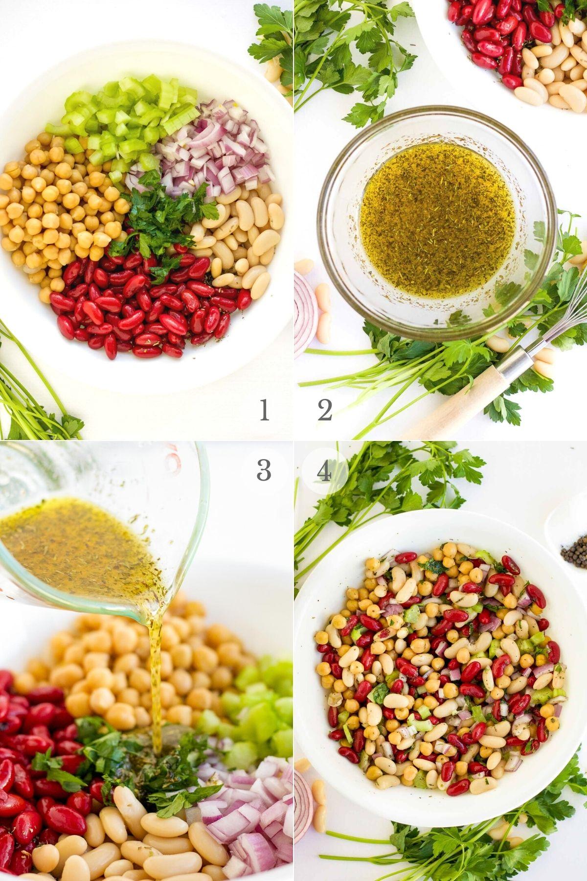 three bean salad recipe steps 1-4