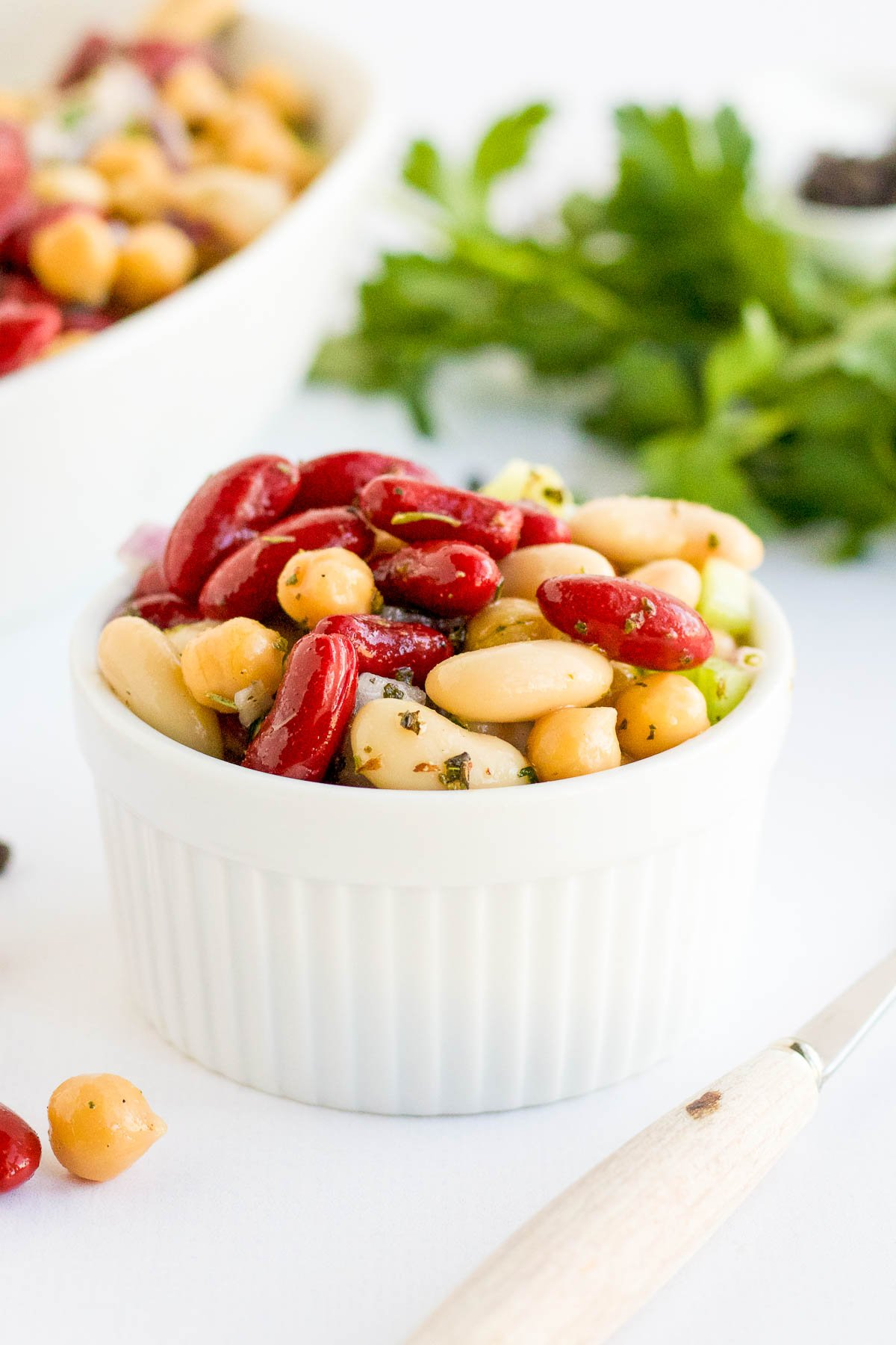 three bean salad serving in small bowl