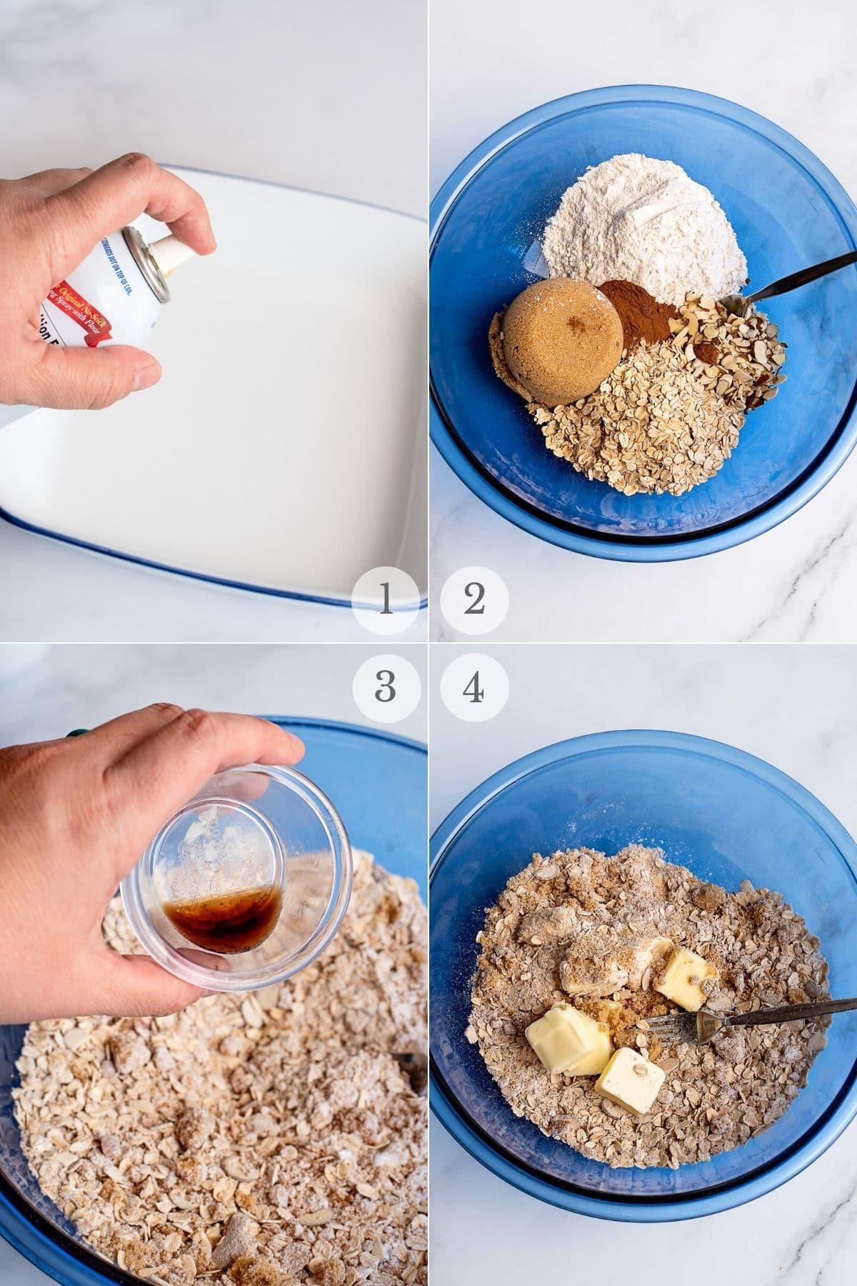 cherry crisp recipe steps 1-4