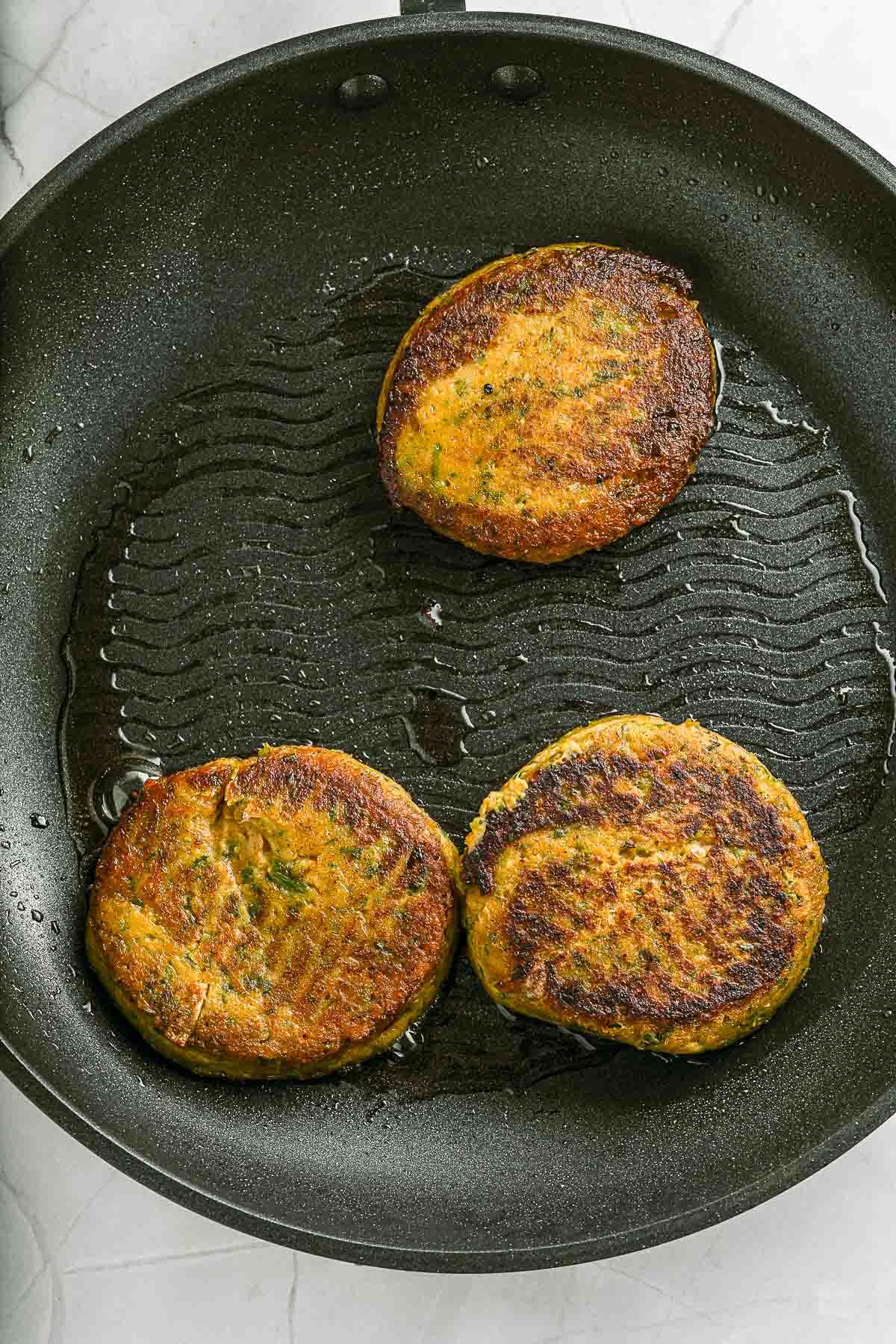 pan frying chickpea burgers