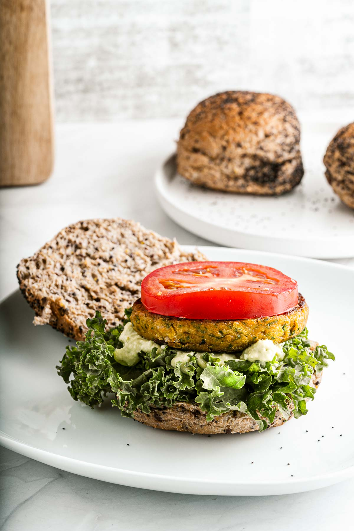 chickpea burgers with toppings