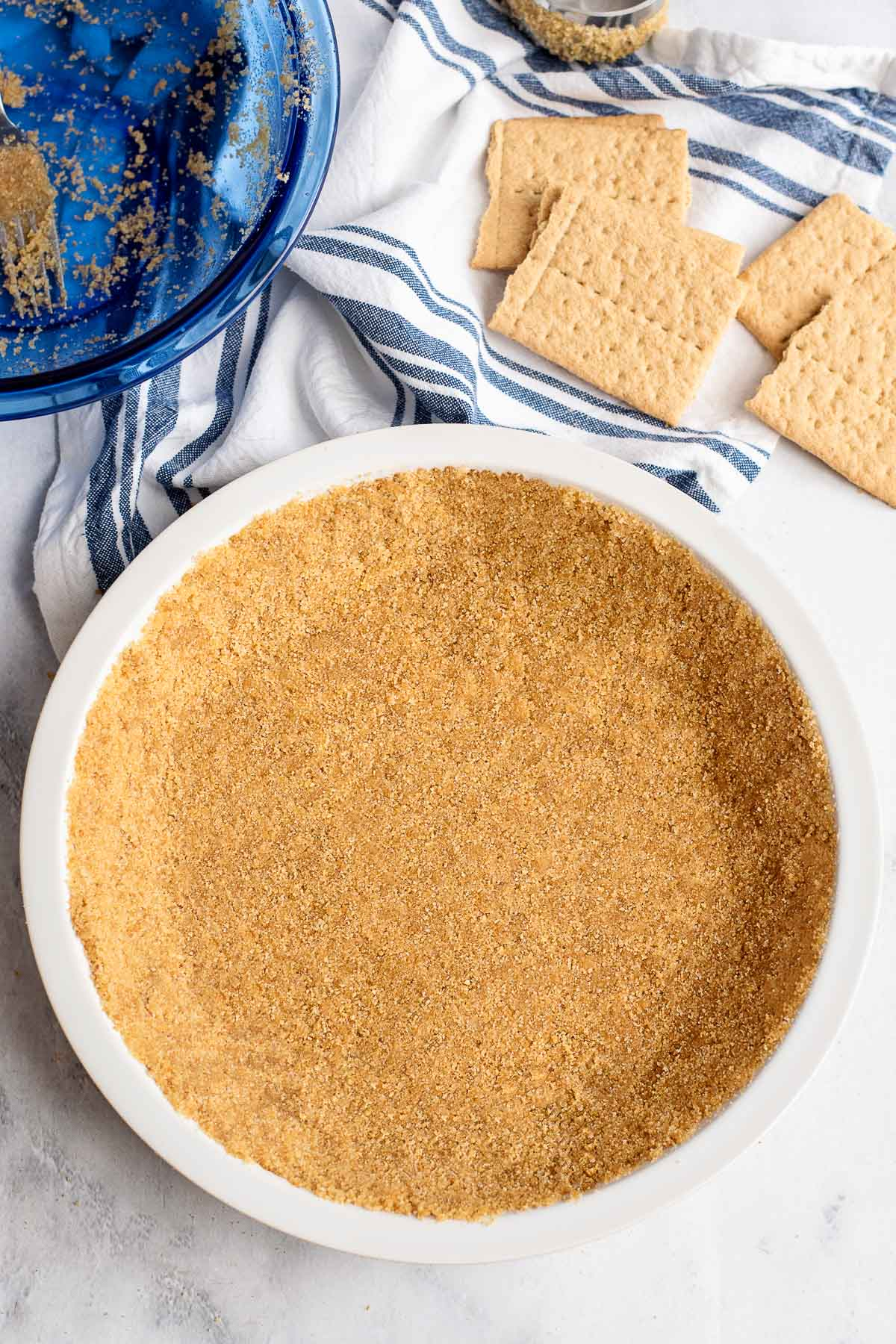 Graham cracker crust in pie plate