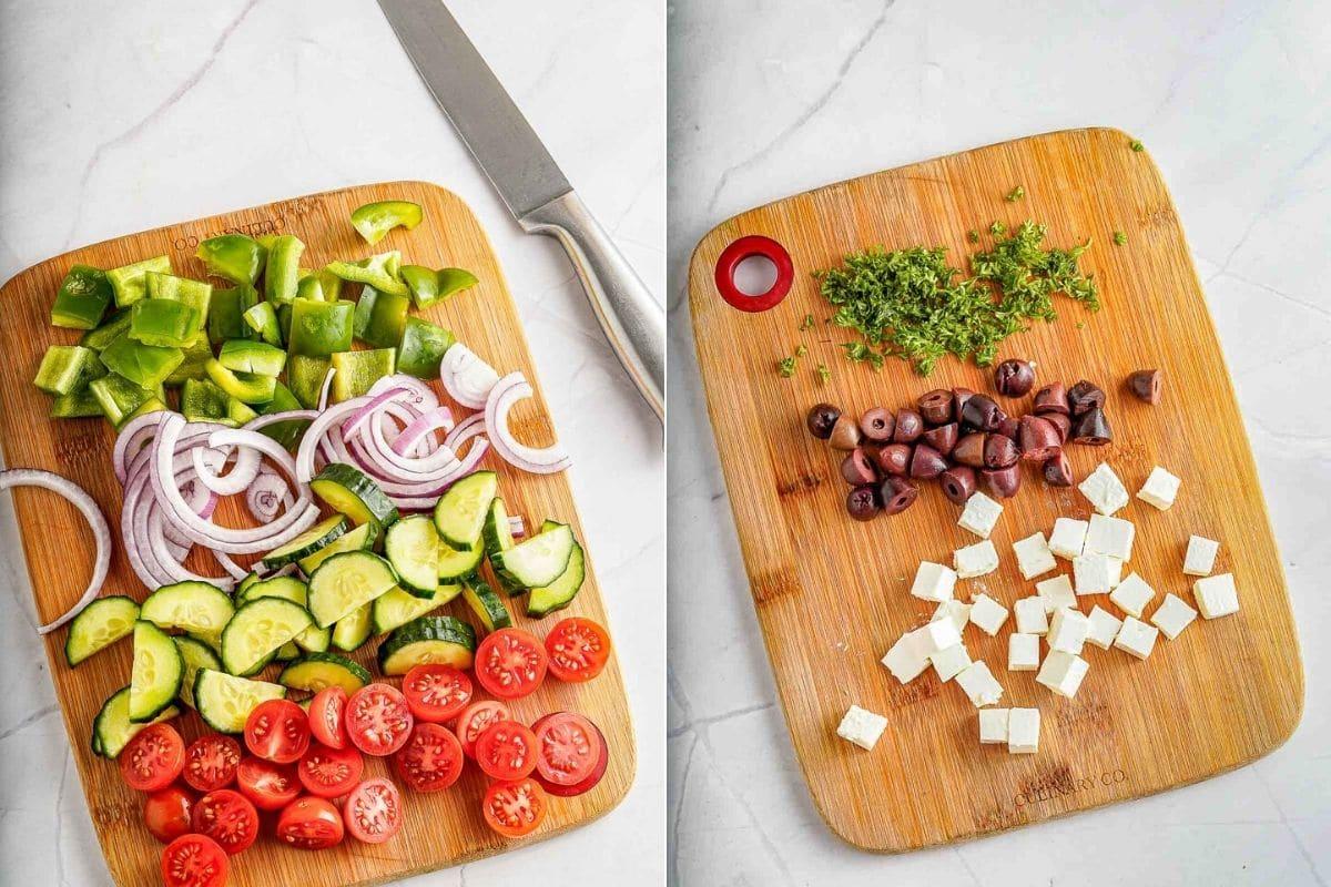 greek salad ingredients prepared