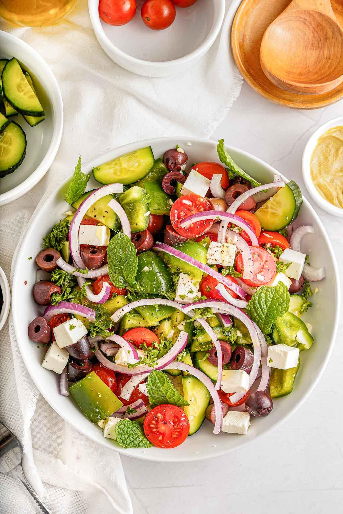 greek salad overhead